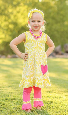 Yellow Damask Hot Pink Capri Set