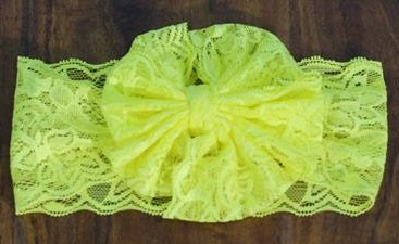 Yellow Messy Bow Lace Headband