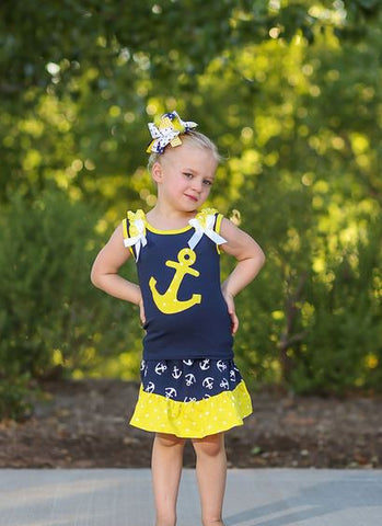 Yellow Polka Navy Anchor Skirt Set