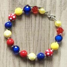 Yellow Red Blue Polka Dot Necklace Chunky Gumball