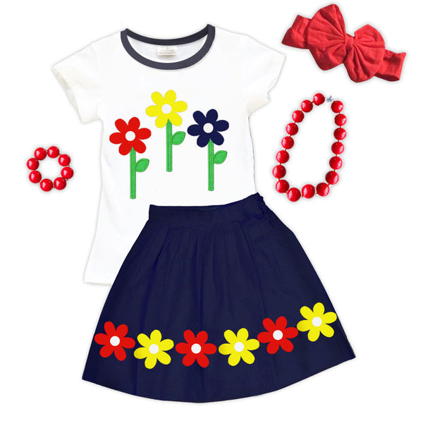 Yellow Red Navy Daisy Top And Skirt Upon A Bowtique