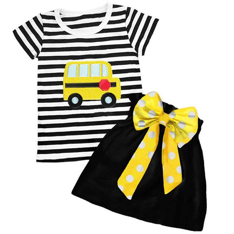 Yellow School Bus Outfit Black Stripe Top And Skirt – Upon A Bowtique 2dc163794a
