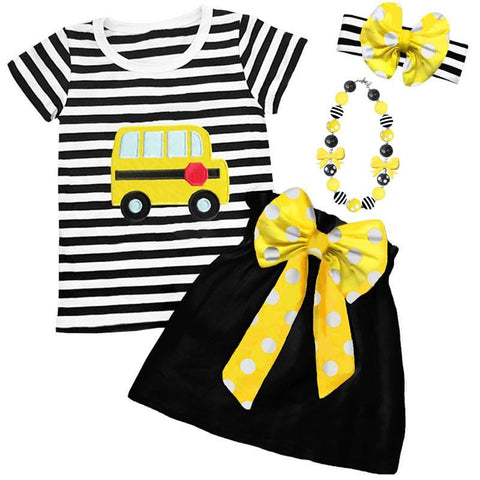 Yellow School Bus Outfit Black Stripe Top And Skirt