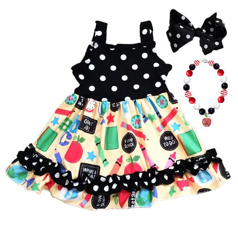 Yellow School Dress Black Polka Dot Ruffle