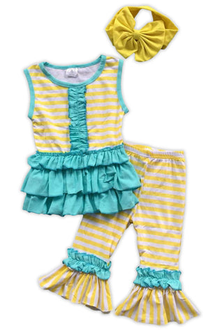 Yellow Stripe Teal Ruffle Capri Set