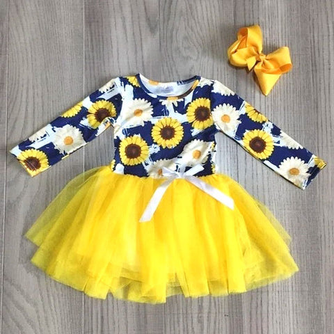 Yellow Sunflower Floral Spring Tutu Dress And Hair Bow Set
