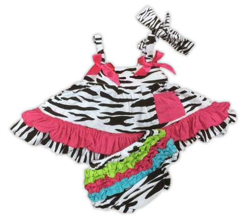 Zebra Pink Ruffle Two Piece