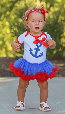 Blue Red Anchor Onesie Tutu