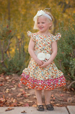Autumn Flowers Ruffle Dress