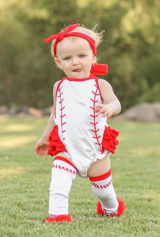 Red White Baseball Bubble Romper
