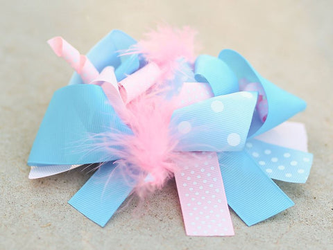Pink - Blue Polka Hair Bow