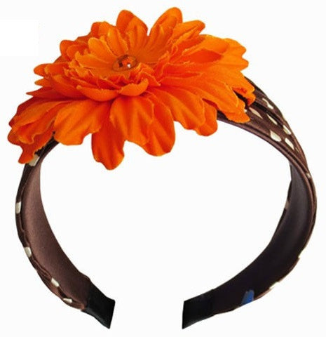 Brown - White - Orange - Flower Headband