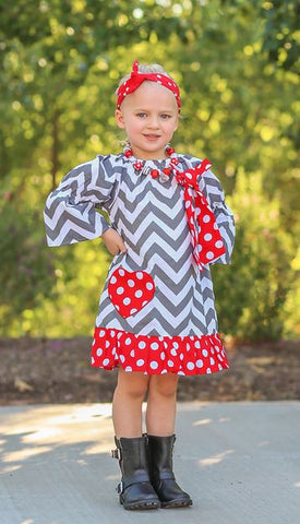 Gray Chevron Heart Peasant Dress