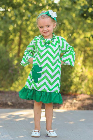 Green Shamrock Chevron Peasant Dress
