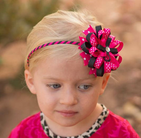 Hot Pink - Black Polka Dot Headband
