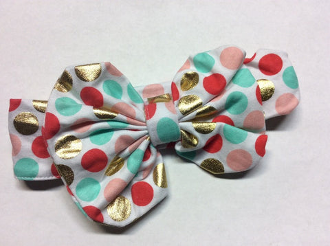 Pink Red Teal Gold Polka Messy Bow Headband