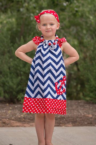 Blue Chevron Red Polka Anchor Dress