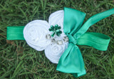 Green - White Flower Rhinestone Boho Headband