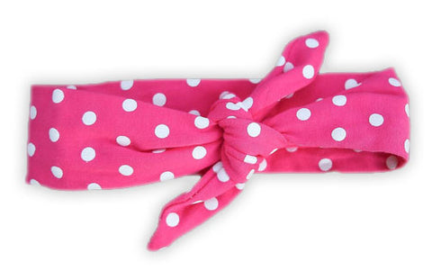 Hot Pink Polka Head Wrap Headband