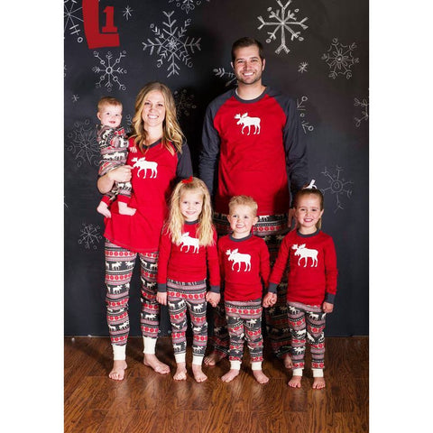 Family Christmas Pajamas Aztec Moose Red Raglan