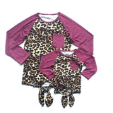 Burgundy Leopard Raglan Tie Shirt Mommy And Me