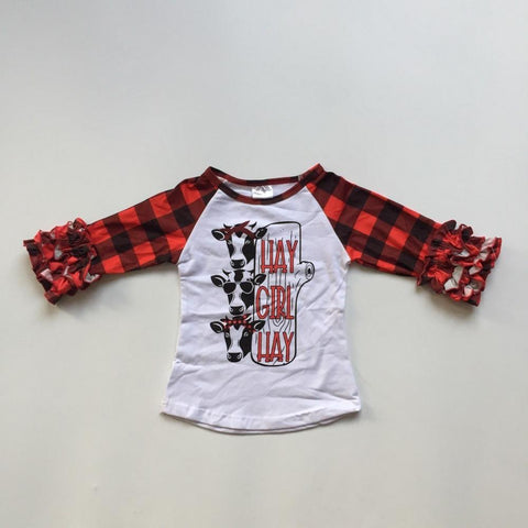 Hey Girl Hey Red Buffalo Plaid Cow Raglan Ruffle Shirt