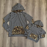 Winter Black Stripe Leopard Hoodie Mommy And Me