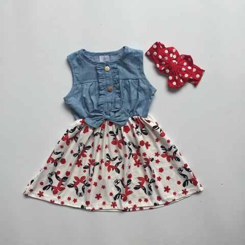 Red Polka Flower Cow Denim Bow Dress And Messy Headband
