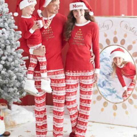 Family Matching Christmas Believe In Magic Aztec Red Plaid Holiday Pajamas