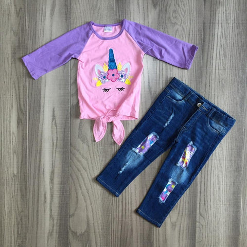 Pink Purple Rainbow Floral Unicorn Tie Top And Jeans