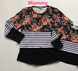 Winter Floral White Stripe Shirt Mommy And Me
