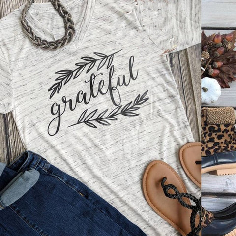 Grateful Leaves Fall Gray Shirt Adult