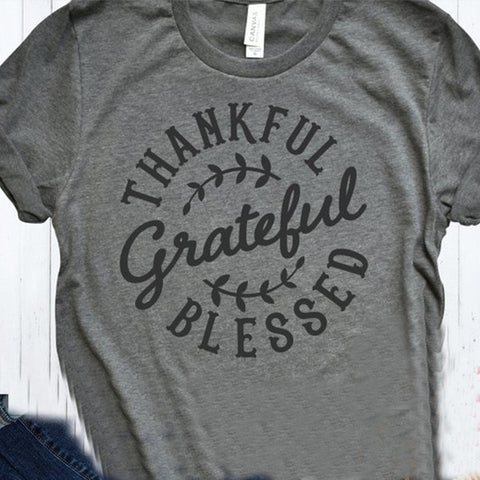 Thankful Grateful Blessed Gray Leaves Fall Shirt Adult