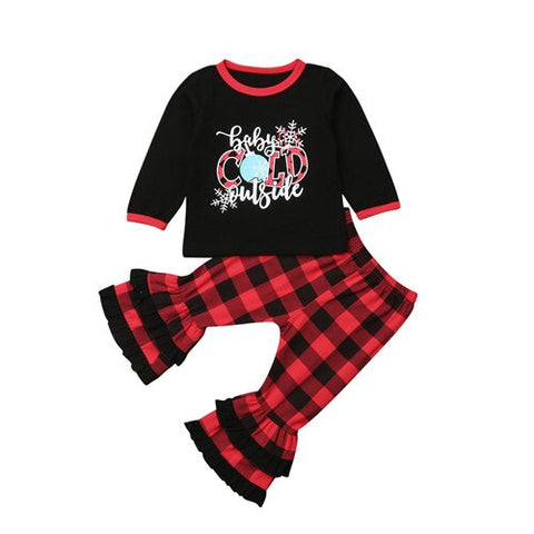 Baby Its Cold Outside Snowflakes Red Plaid Buffalo Ruffle Top And Pants