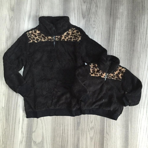 Leopard Black Sherpa Plush Zip Sweater Mommy And Me