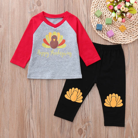 Happy Thanksgiving Turkey Feathers Raglan Top And Pants