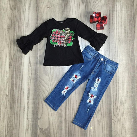 Jesus Is The Reason Season Red Buffalo Plaid Ruffle Top Jeans And Hair Bow Set
