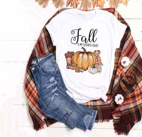 Fall Is My Favorite Color Pumpkin Shirt Adult