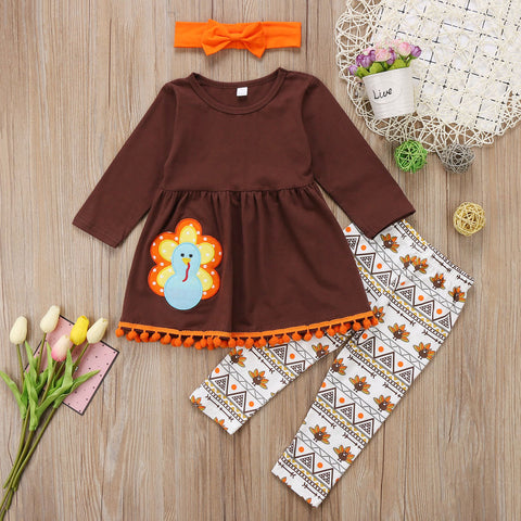 Turkey Aztec Arrows Thanksgiving Brown Top And Pants Set