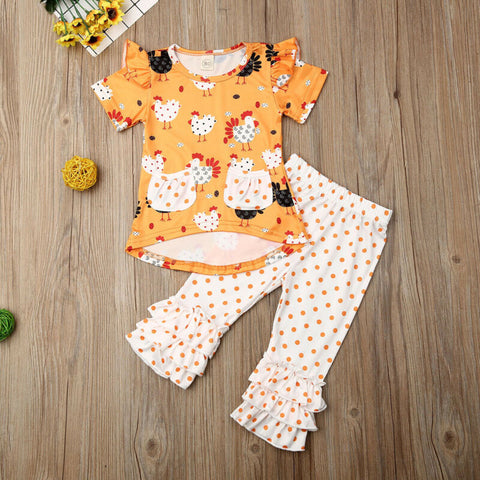 Orange Polka Chicken Ruffle Top And Pants