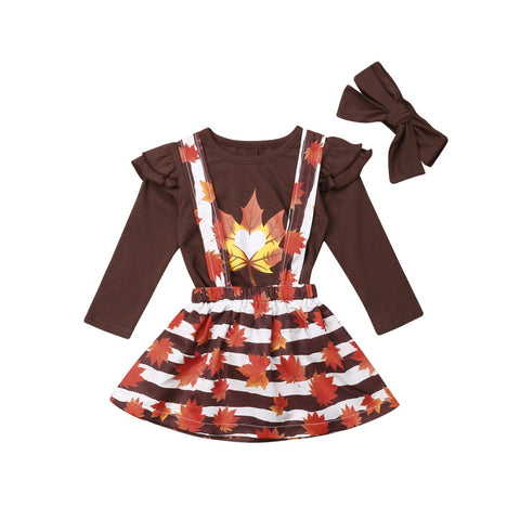 Fall Leaves Brown Stripe Top And Jumper Set