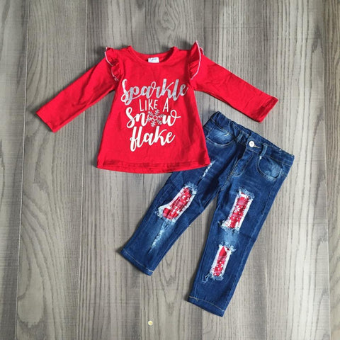 Sparkle Like A Snowflake Silver Red Ruffle Top And Jeans
