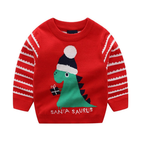 Holiday Time Red Stripe Dinosaur Party Sweater Boys Dino