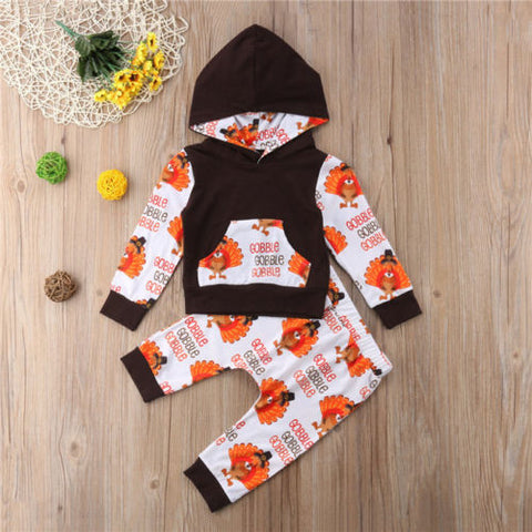 Thanksgiving Gobble Gobble Turkey Boy Hoodie And Pants