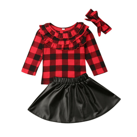 Red Buffalo Plaid Ruffle Top And Skirt Set