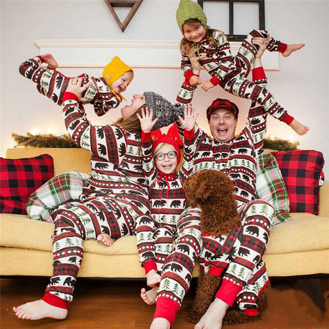 Matching Family Christmas Bear Essentials Red Woodland Holiday Pajamas