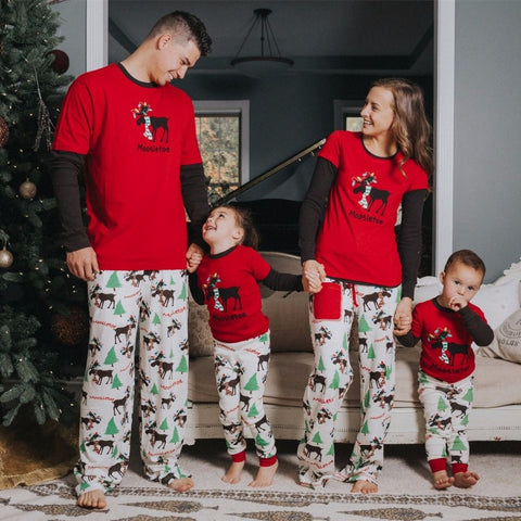 Matching Family Christmas Moose Moosletoe Red Woodland Holiday Pajamas