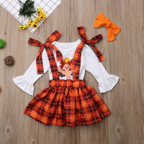 Turkey Orange Brown Plaid Bow Top And Jumper Set