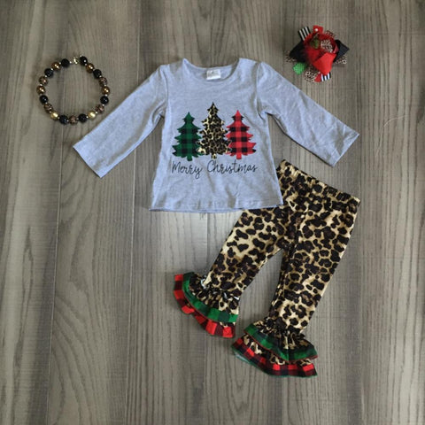 Leopard Merry Christmas Plaid Trees Ruffle Green Red Buffalo Gray Top Pants Necklace Hair Bow Set