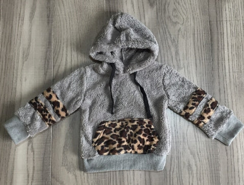 Leopard Gray Hoodie Sherpa Plush Zip Sweater